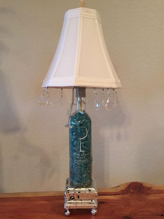 Glass Filled Wine Bottle Lamp